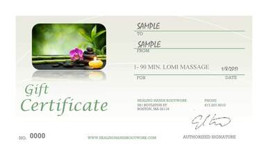 Massage Gift Certificate Boston
